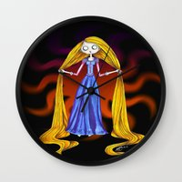 tim burton Wall Clocks featuring Tangled- Tim Burton Style by AndriBelieve
