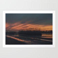 Sunset at Deltebre Art Print