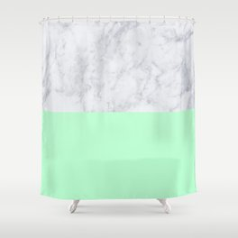 Mint Marble Shower Curtain