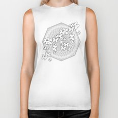Butterflies and kaleidoscope in gray and white Biker Tank