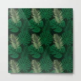 Tropical Leaves Green Metal Print