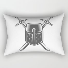 Helmet and Swords of a Medieval Knight Crusader Rectangular Pillow