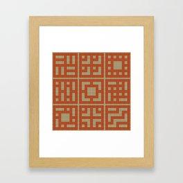 Beaded breeze blocks design pattern orange & cream Framed Art Print