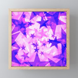 Glowing purple and pink stars on a light background in projection and with depth. Framed Mini Art Print