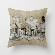 Cottbus Monument Skyline Illustration by carographic, Carolyn Mielke Throw Pillow