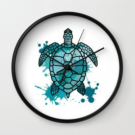 Colored Sea Turtle   Artistic Paint Splotches Wall Clock