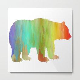 Rainbow Watercolor Dripping Bear II Metal Print