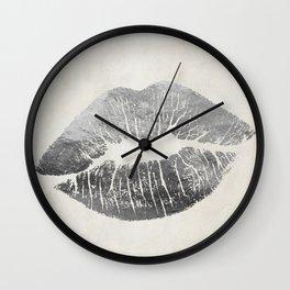 Hollywood Kiss Silver Wall Clock