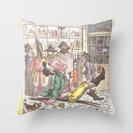 old man slipping vintage kitsch artwork Throw Pillow