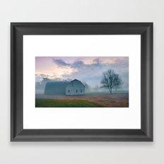 Foggy Morning Barn Framed Art Print