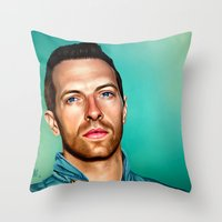 coldplay Throw Pillows featuring Blue Eyes by tillieke