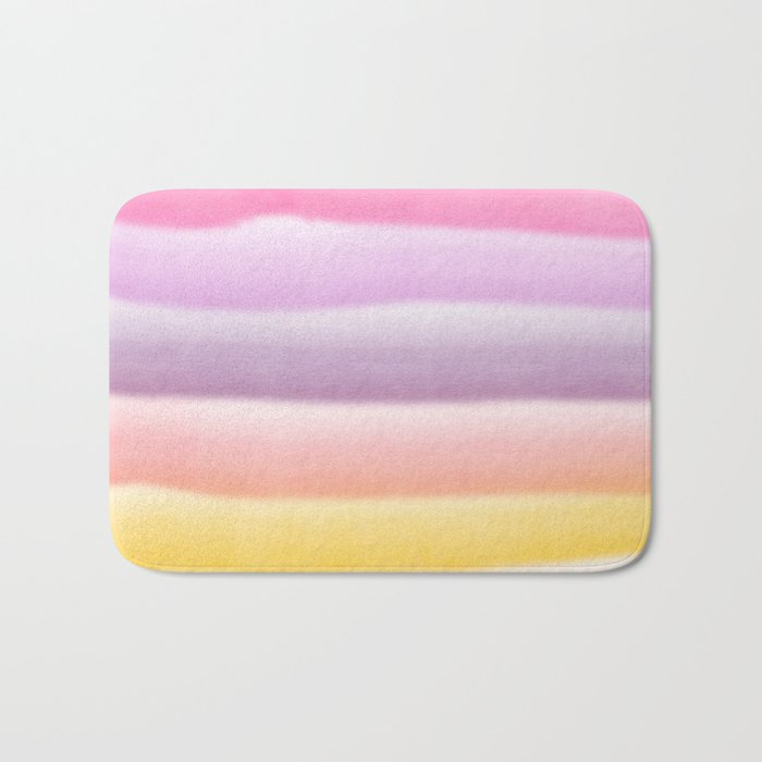 Modern hand painted multi color summer watercolor stripes pattern Bath Mat