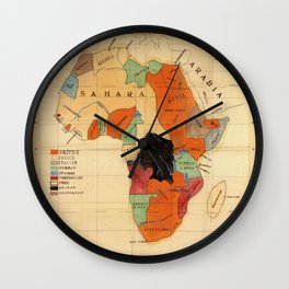 1908 Colonization Map of African Continent Color Coded by Occupying Country  Wall Clock