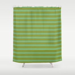 baby poo + mint stripes Shower Curtain