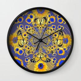 MODERN BLUE FLORALS MONARCH BUTTERFLY ART Wall Clock