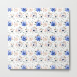 Blue and Pink Garden Flowers Metal Print