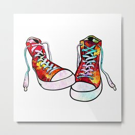 Sneakers Shoes Art Colorful Watercolor Gift Teen Art Urban Decor Metal Print