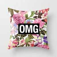 2pac Throw Pillows featuring OMG by Text Guy