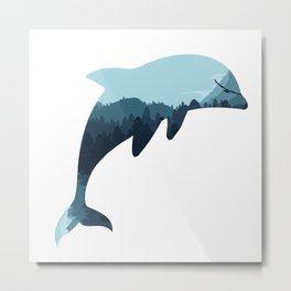 dolphin silhoutte Metal Print