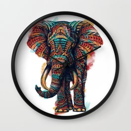 Ornate Elephant (Watercolor) Wall Clock