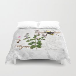Cottage Style Thyme, Bumble Bee, Hummingbird, Herbal Botanical Illustration Duvet Cover