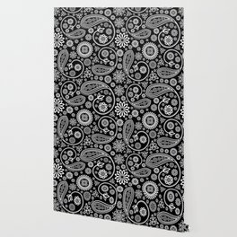 Oriental Persian Paisley, Dots - Black White Wallpaper