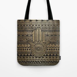 Native Pattern Golden Hamsa Hand Tote Bag