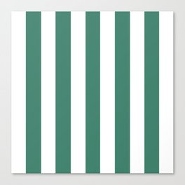 Viridian blue - solid color - white vertical lines pattern Canvas Print
