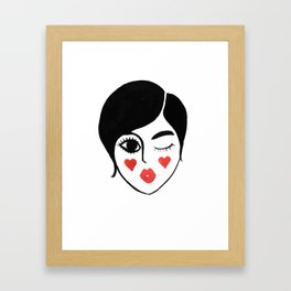 wink kiss Framed Art Print