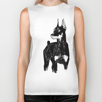 doberman Biker Tanks featuring Doberman by Cassandra Jean