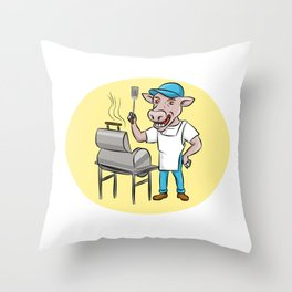 Cow Barbecue Chef Smoker Oval Cartoon Throw Pillow