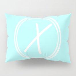 Monogram - Letter X on Celeste Cyan Background Pillow Sham
