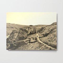 TINTAGEL CASTLE RUINS CORNWALL IN SEPIA Metal Print
