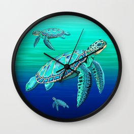 Sea Turtle Turquoise Oceanlife Wall Clock