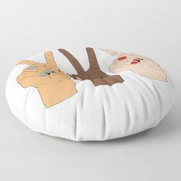 Peace Hands Cartoon Floor Pillow