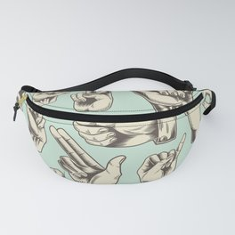 Hand Signs in Cool Retro Style  Fanny Pack