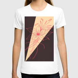 Modern Peach, Coral, and Black Floral Triangles T-shirt