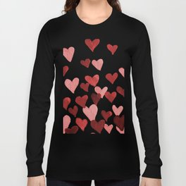 Valentine's Day Watercolor Hearts - red Long Sleeve T-shirt