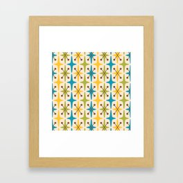 Mid Century Modern Abstract Star Pattern 441 Yellow Brown Turquoise Chartreuse Framed Art Print