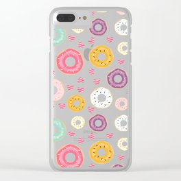hearts and donuts blue Clear iPhone Case