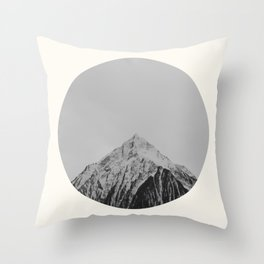 Mid Century Modern Round Circle Photo Grey Minimalist Monochrome Snow Mountain Peak Throw Pillow