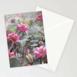 Lovely pink lotus flower in lake  Stationery Cards