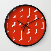 socks Wall Clocks featuring Socks by Phie Hackett