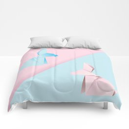 Pink and blue origami rabbit Comforters