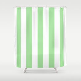 Granny Smith apple green - solid color - white vertical lines pattern Shower Curtain