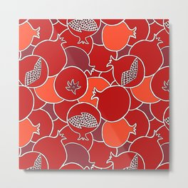 Pomegranate Harvest with Fruit and Seeds Metal Print