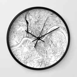 Cincinnati White Map Wall Clock