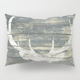 Rustic White Deer Silhouette Teal Wood A311 Pillow Sham