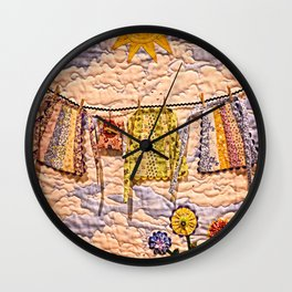 Hanging Aprons In The Sunshine Wall Clock