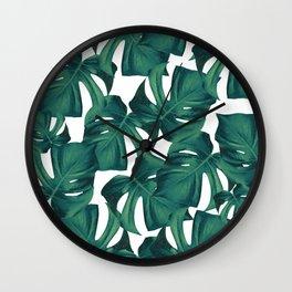 Tropical Monstera Leaves Pattern #2 #foliage #decor #art #society6 Wall Clock